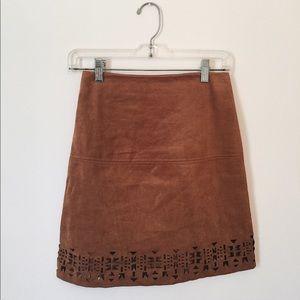 High Waisted Tan Suede Skirt w/ Cutouts